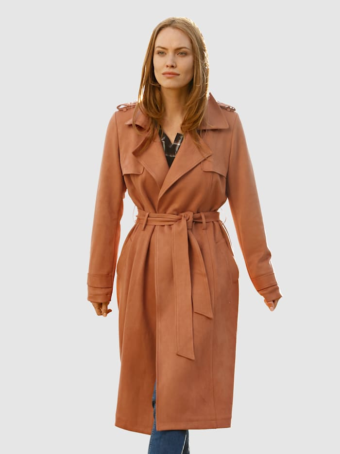 Laura Kent Trenchcoat in offener Form, Haselnuss