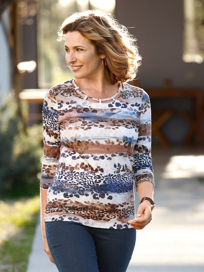 Paola Shirt mit attraktivem Druck, Marineblau/Braun/Hellblau