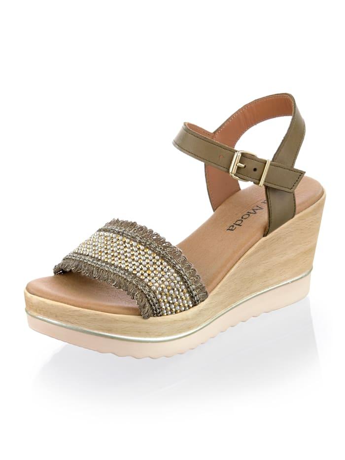 Alba Moda Sandalette mit angenehm tragbarem Keilabsatz, Khaki