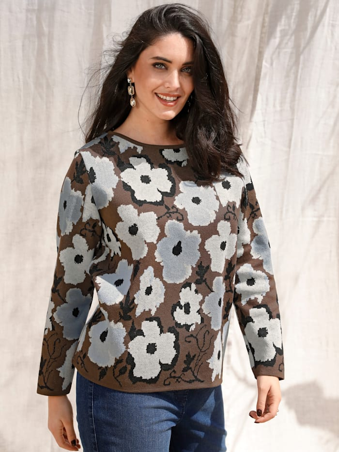 MIAMODA Pullover mit floralem Muster, Braun/Weiß/Marineblau