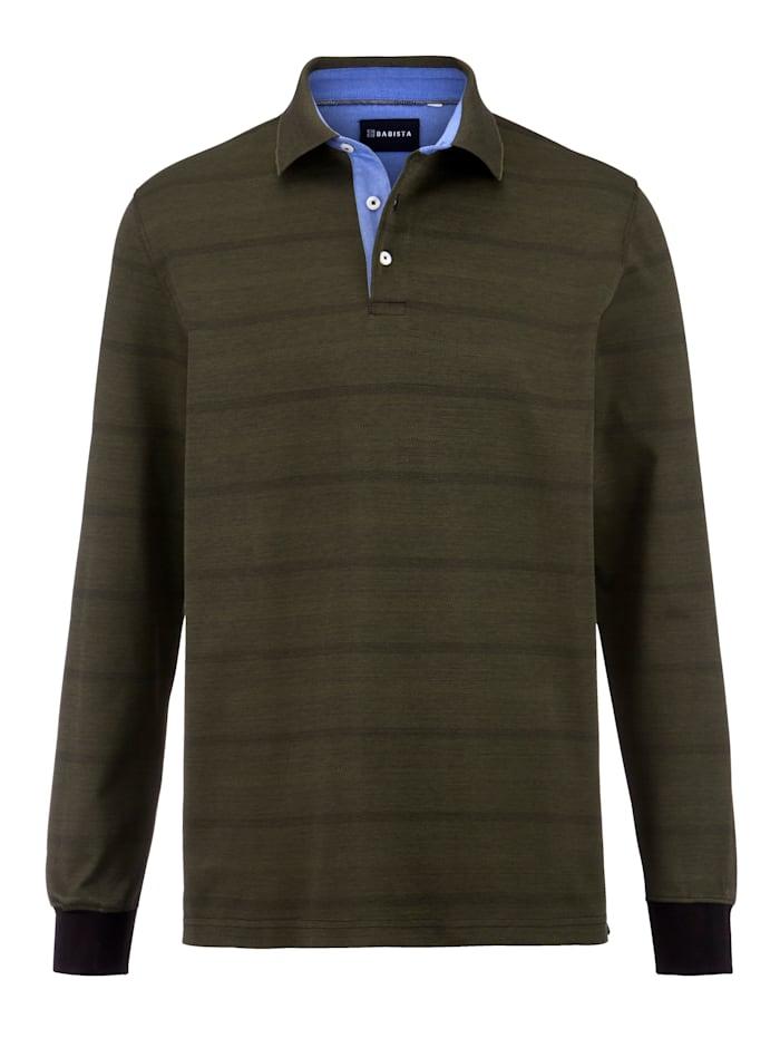 Babista Premium Poloshirt met jacquardpatroon, Olijf