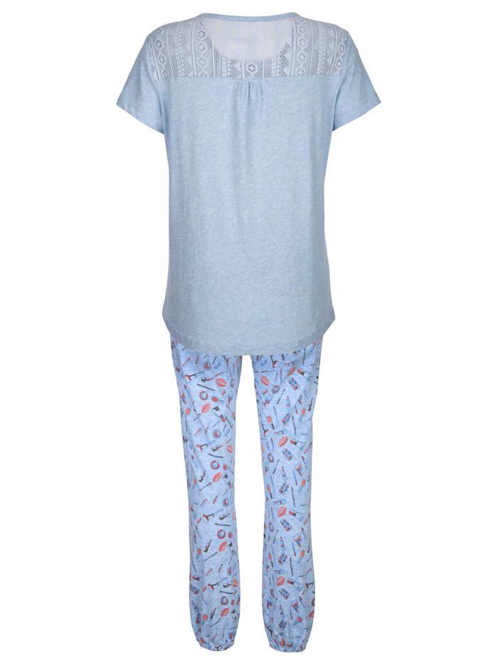 Pyjama met kanten inzet achter