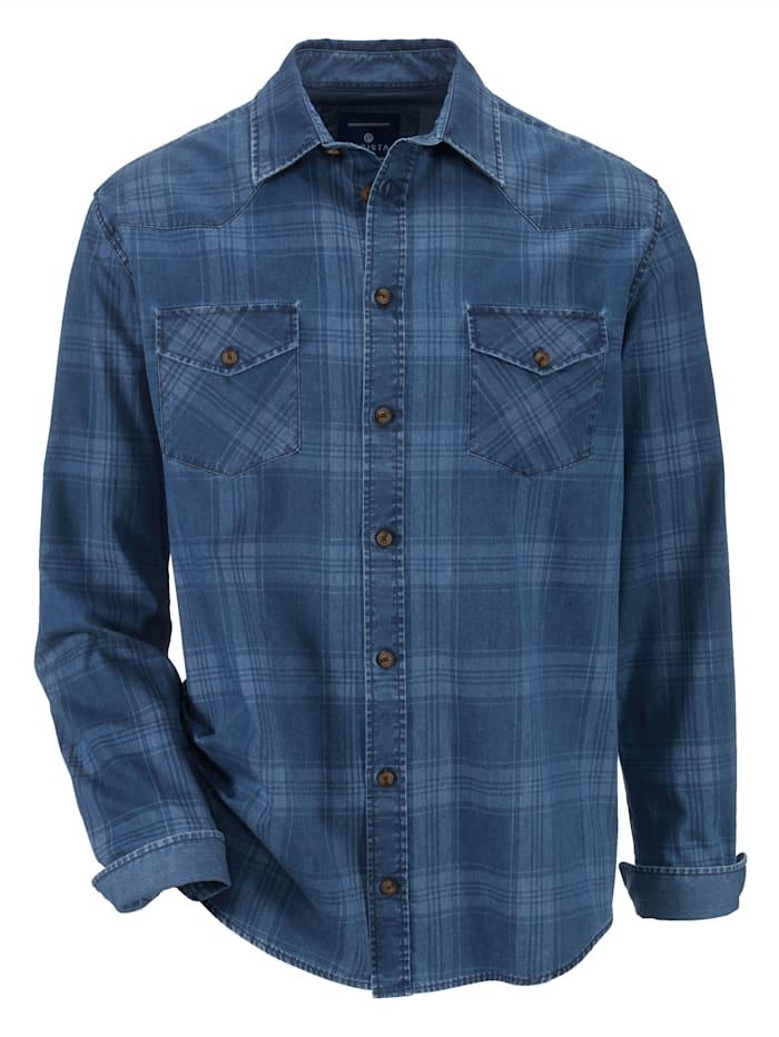 Rutig jeansskjorta av 100% bomull