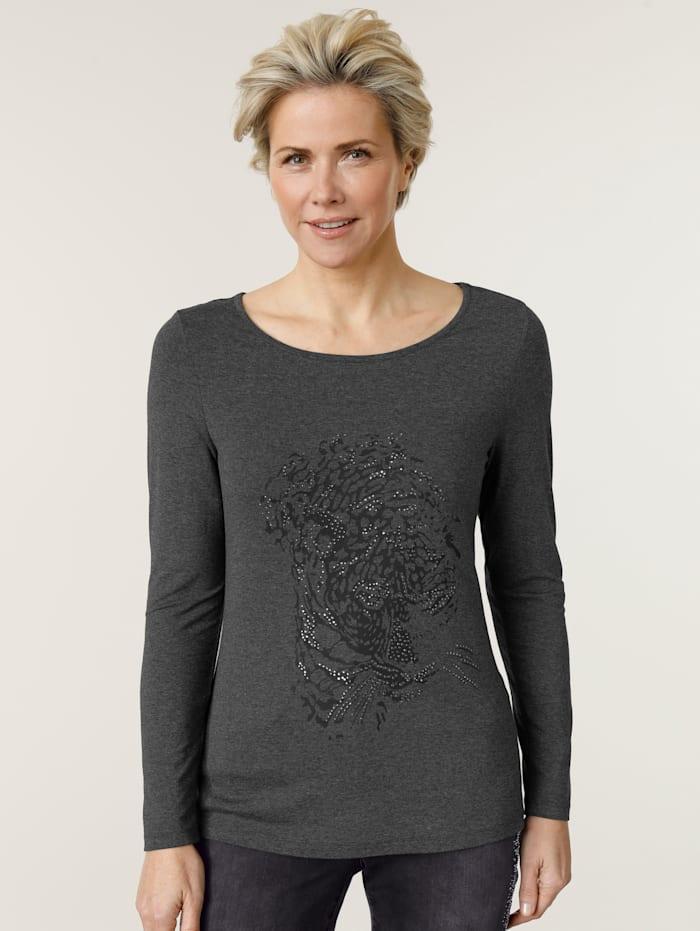 MONA T-shirt à motif de tigre et pierres fantaisie, Anthracite