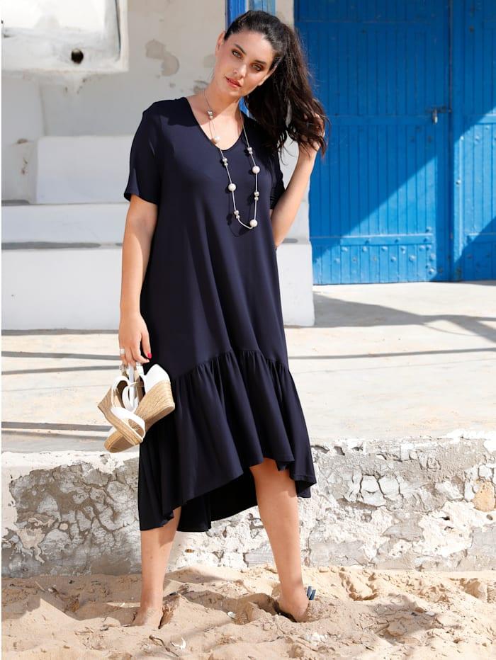 MIAMODA Kleid mit Rüschen am Saum, Marineblau