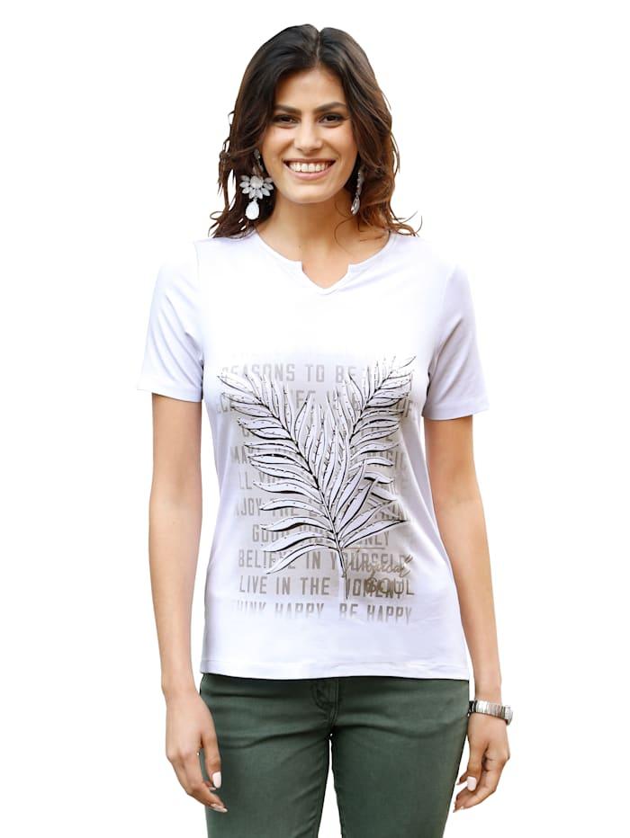 AMY VERMONT Shirt mit Blätter-Druck im Vorderteil, Weiß/Grau