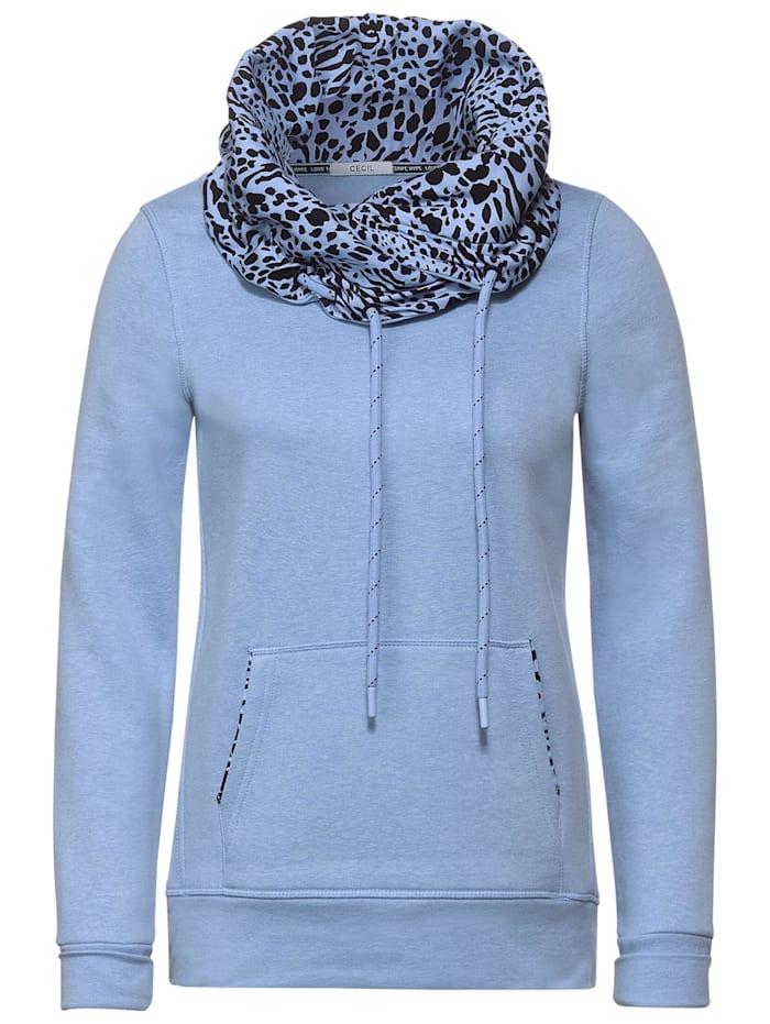 Cecil Sweatshirt mit Animal-Print, light blue melange