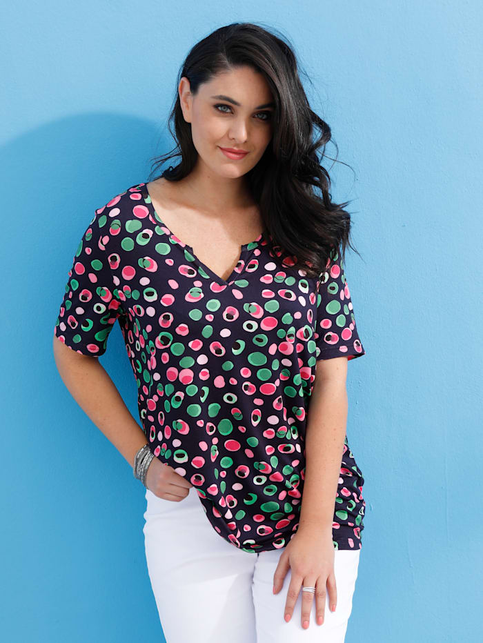 MIAMODA Shirt mit ausgefallenem Ausschnitt, Multicolor