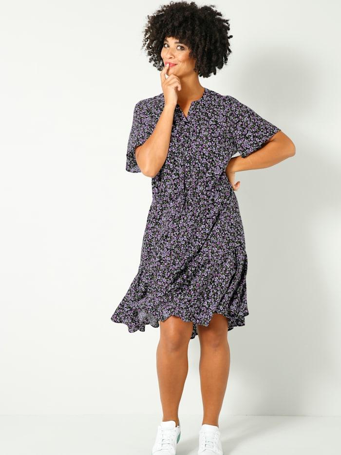 Angel of Style Kleid mit Tunnelzug auf Taillenhöhe, Schwarz/Jade/Violett