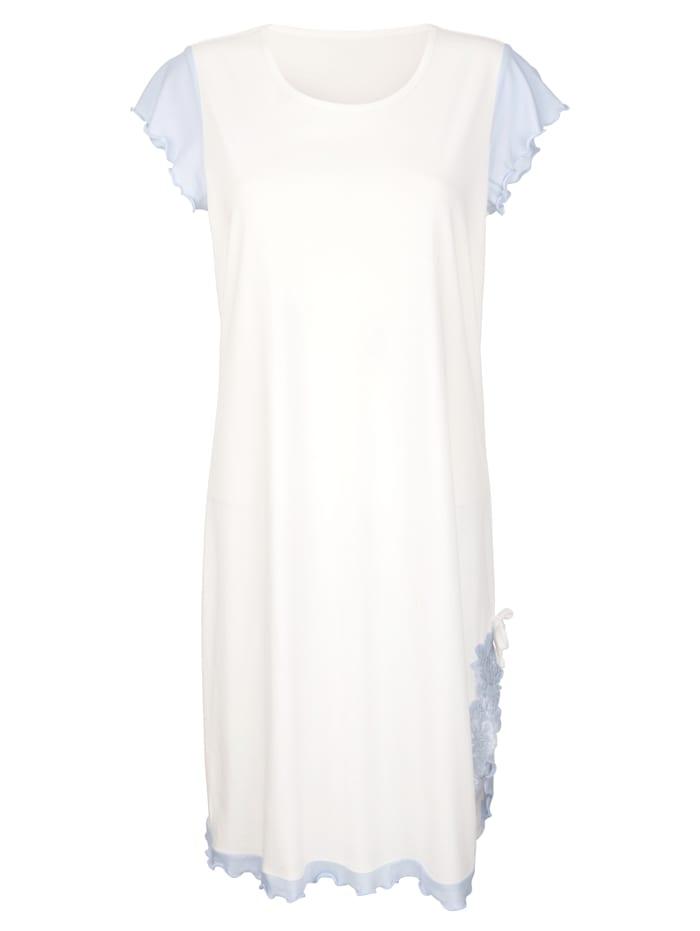 Simone Nočná košeľa s elegantnou čipkou, ecru/modrá