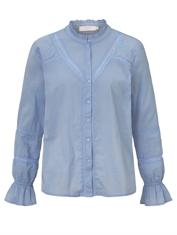 Cream Bluse mit Rüschen, Hellblau