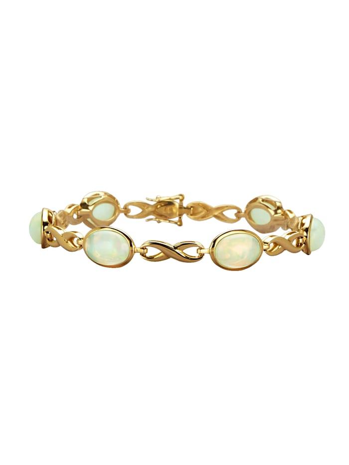 Diemer Farbstein Armband mit Kristallopalen, Weiß
