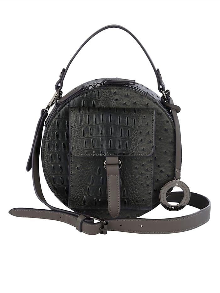 Emma & Kelly Handtasche mit Straußenprägung, anthrazit