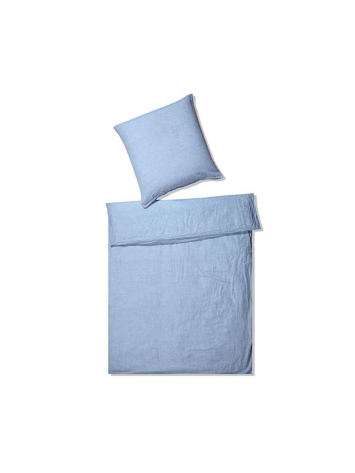 Elegante Leinen Bettwäsche Breeze hellblau, hellblau