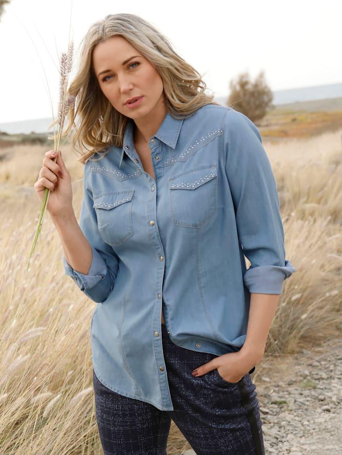 MIAMODA Jeansbluse mit kontrastfarbenen Nähten, Hellblau