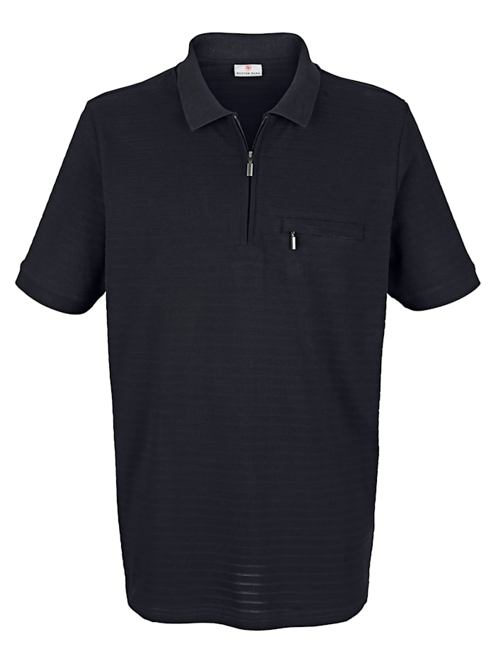 Poloshirt mit Rippenstrickmuster