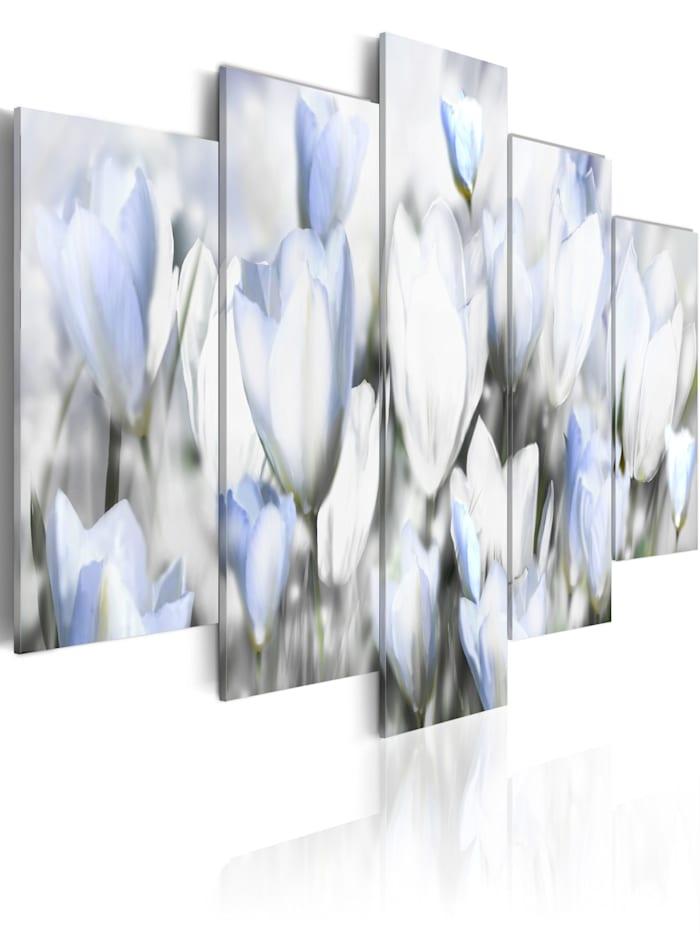artgeist Wandbild Garten der Hoffnung, Grau,Weiß,Blau