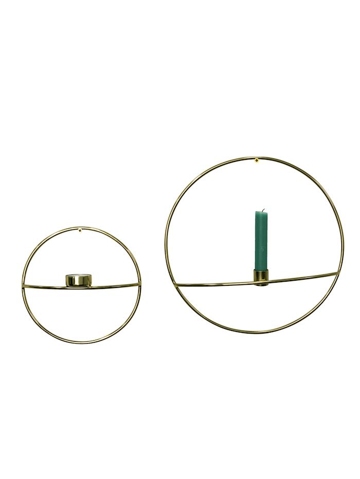 IMPRESSIONEN living Wandkerzenhalter-Set, 2-tlg., goldfarben