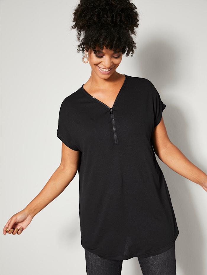 Angel of Style T-shirt long avec glissière à l'encolure, Noir