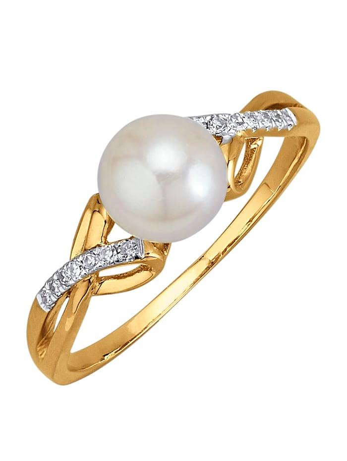 Amara Perles Bague avec 1 perle de culture d'Akoya blanche, Blanc