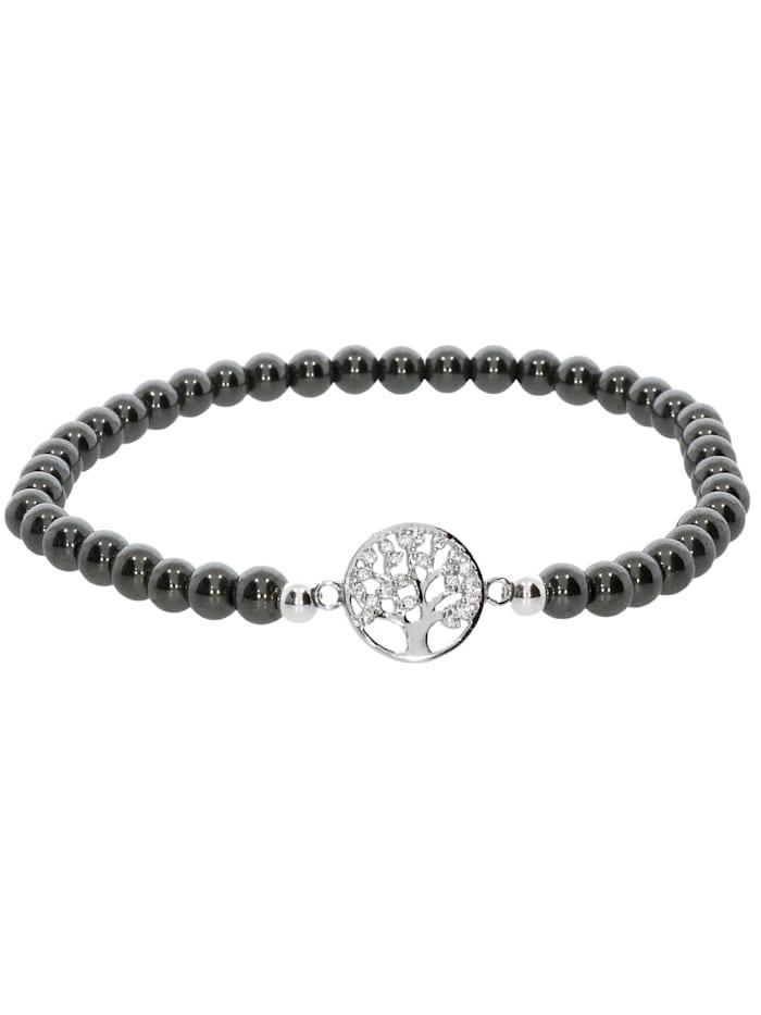 1001 Diamonds Baum des Lebens Hämatit Armband 925 Silber 17 cm, grau