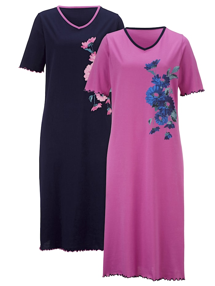 Harmony Nachthemd mit platziertem Floraldruck, Fuchsia/Marineblau
