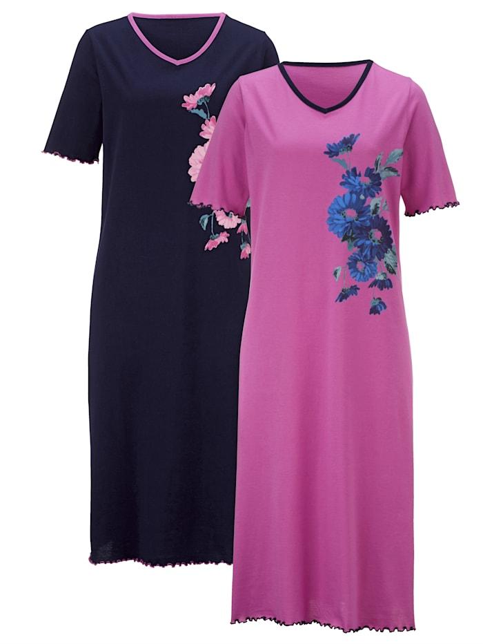 Harmony Nachthemden met bloemendessin, Fuchsia/Marine
