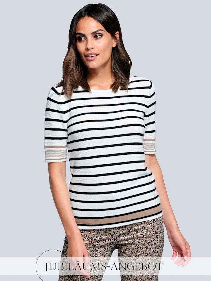 Alba Moda Pullover im trendigen Streifendessin, Off-white/Schwarz/Cognac