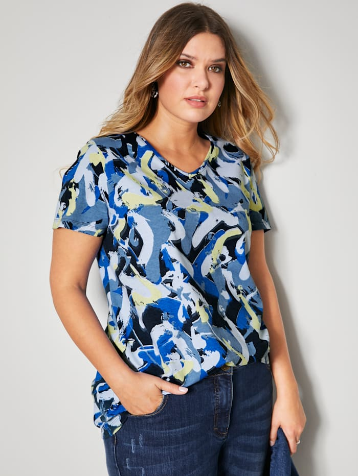 Janet & Joyce Shirt met grafisch patroon rondom, Marine/Royal blue
