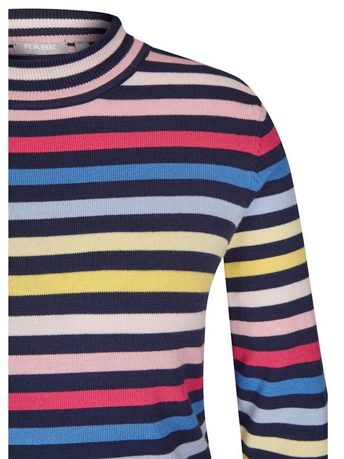 Pullover mit Allover-Ringeln und Stehkragen
