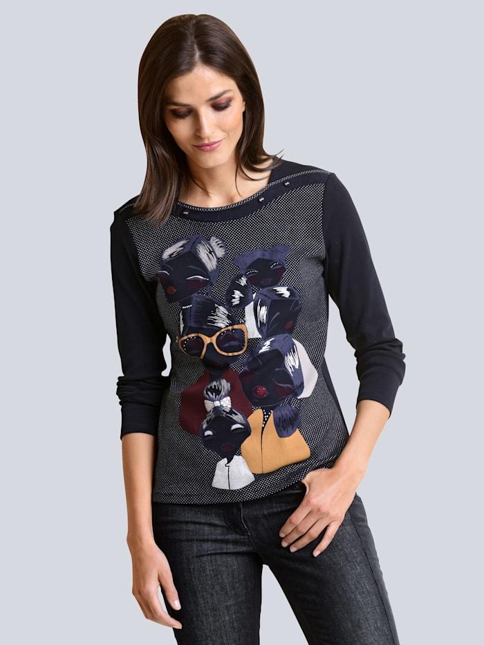 Alba Moda Shirt mit neu designtem Druck im Vorderteil, Marineblau/Multicolor
