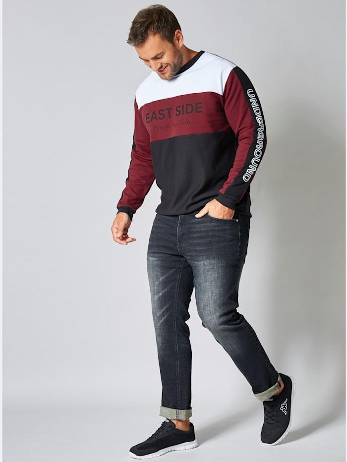Men Plus Sweatshirt mit Print, Schwarz/Bordeaux/Weiß