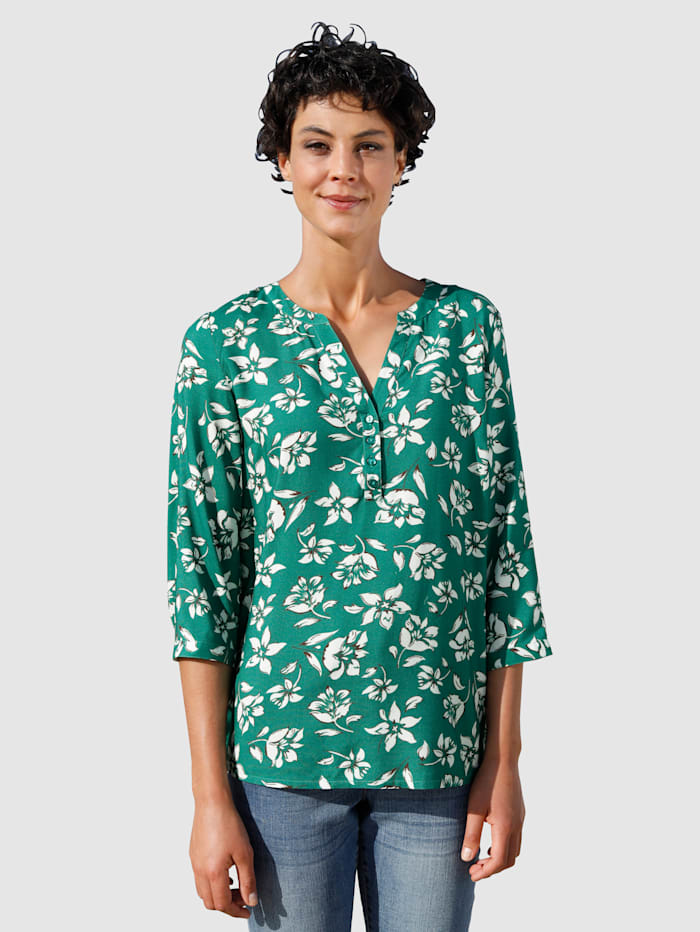 Dress In Bluse mit sommerlichen Print, Salbeigrün
