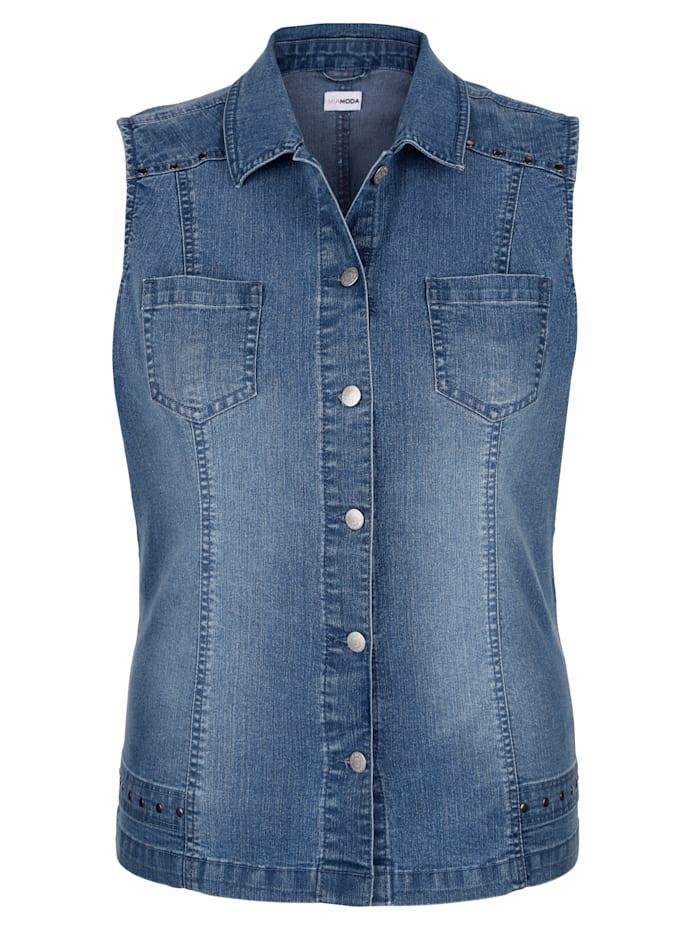 MIAMODA Jeansgilet met klinknageltjes, Blue bleached