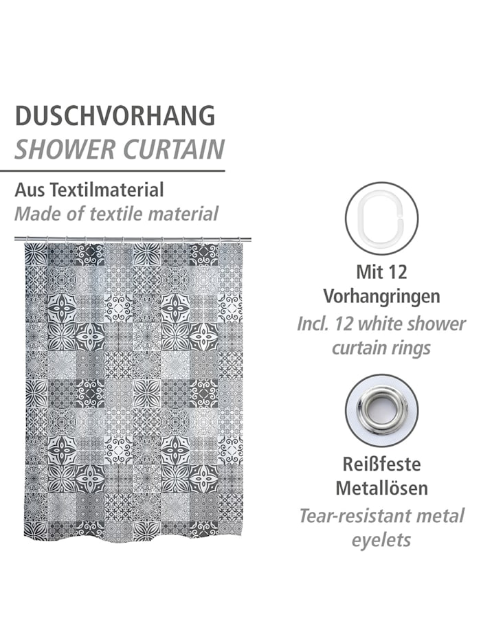 Duschvorhang Portugal, Textil (Polyester), 180 x 200 cm, waschbar