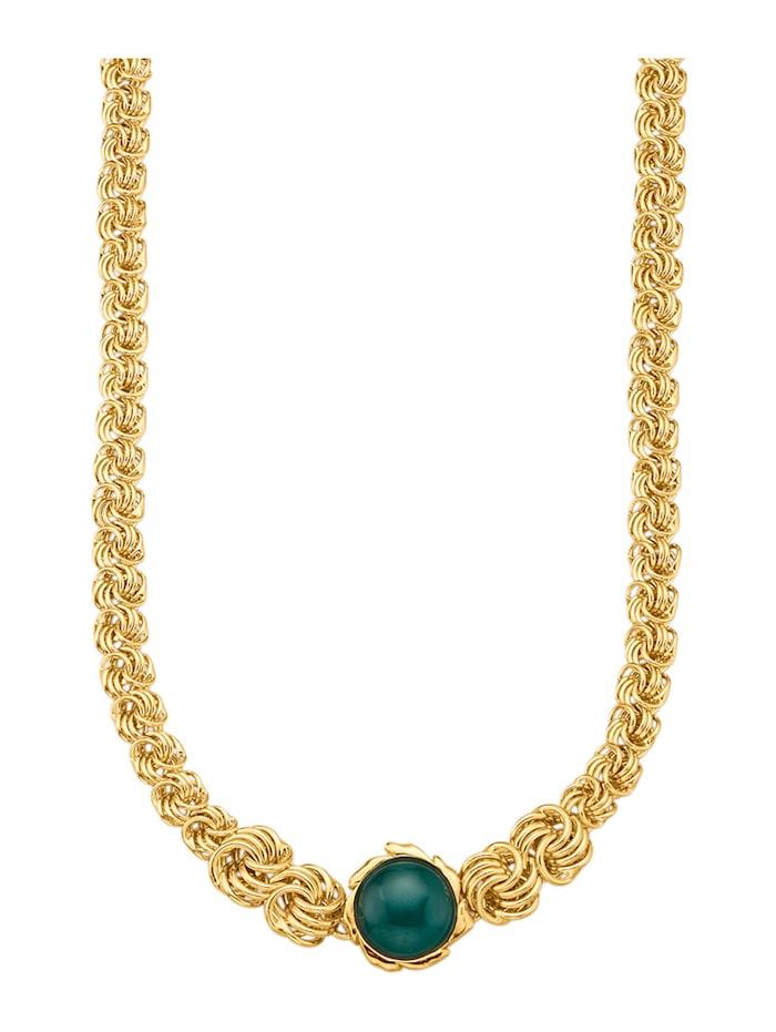 Diemer Farbstein Rosenkette mit 1 Achat-Cabochon, Grün