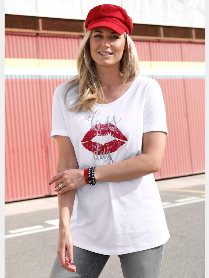 Shirt mit Kussmund-Motivdruck
