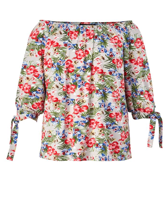 Shirt mit Blumen-Print und Carmen-Ausschnitt