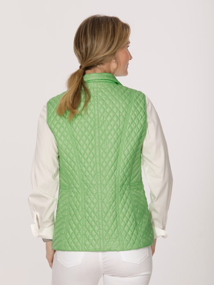 Quilted gilet with a printed lining