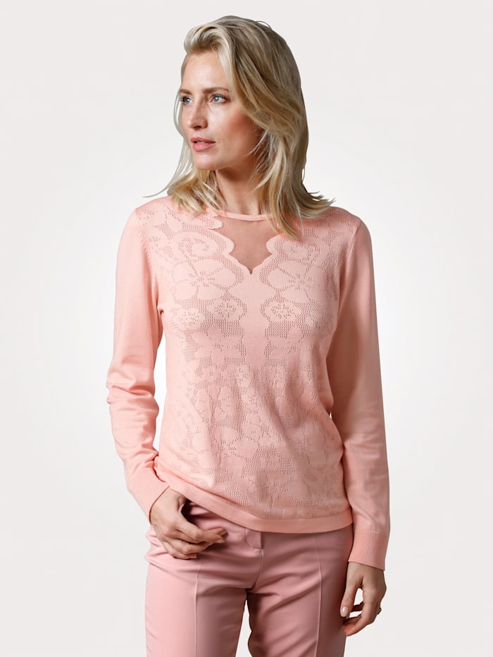 MONA Pullover mit floralem Ajour-Strick, Hellrosa