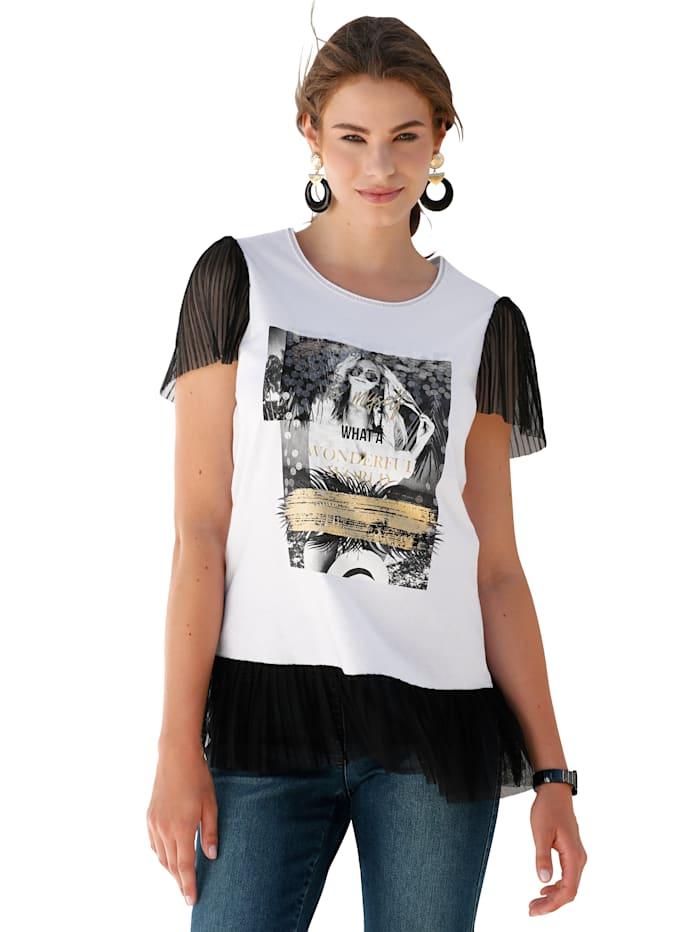 AMY VERMONT Shirt mit Druck und Pailletten im Vorderteil, Weiß/Schwarz