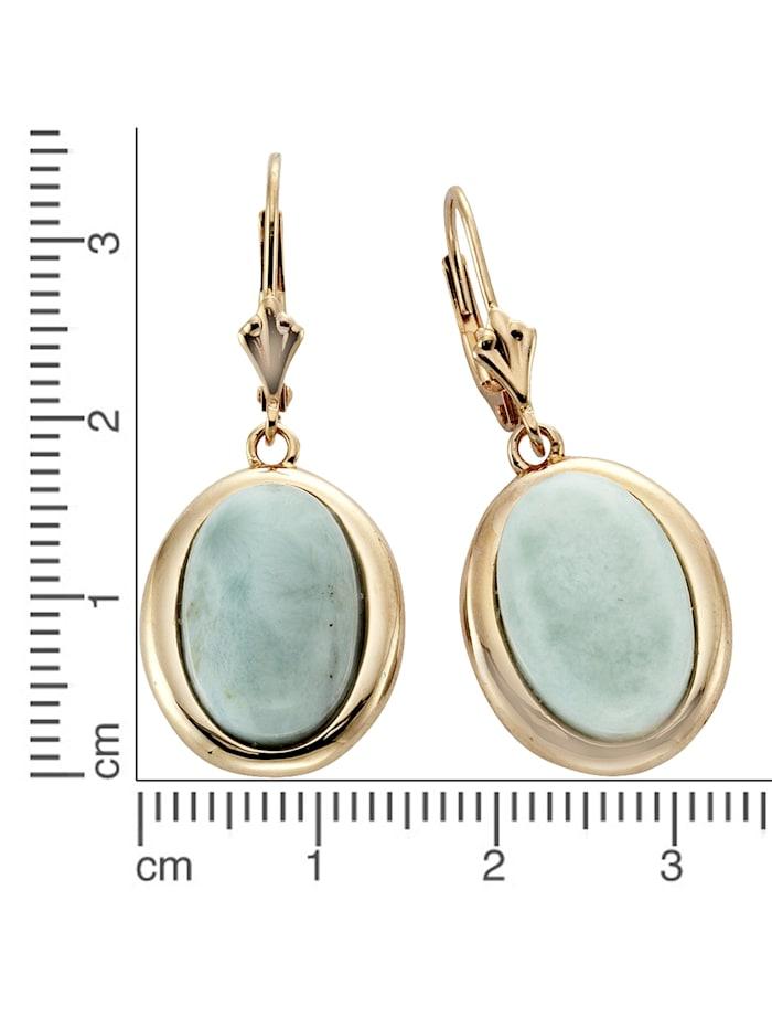 Ohrhänger 925/- Sterling Silber Larimar hellblau 3,4cm rotvergoldet 925/- Sterling Silber