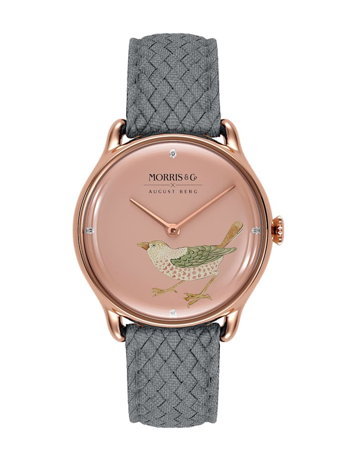 August Berg Uhr MORRIS & CO Rose Gold Bird Grey Perlon 30mm, primrose