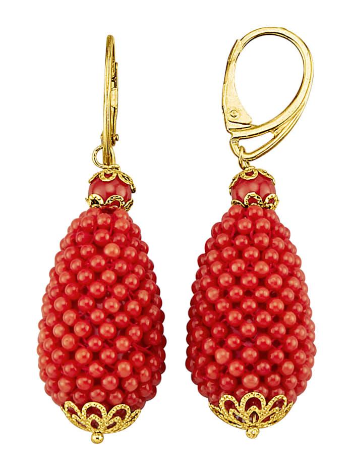 Diemer Farbstein Ohrringe mit Korallen, Rot