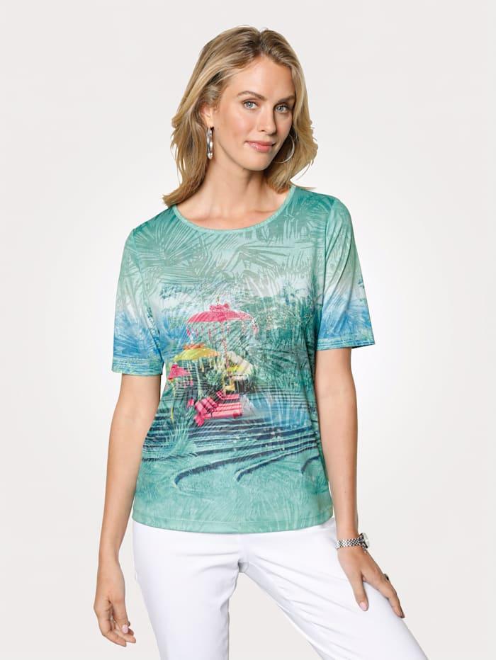 Rabe T-shirt Tissu dévoré, Vert/Bleu/Rose vif