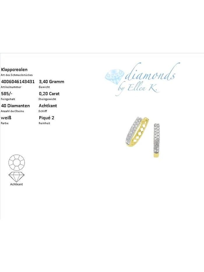 Creolen 585/- Gold Diamant weiß Diamant 1,8cm Glänzend 0,20 Karat 585/- Gold