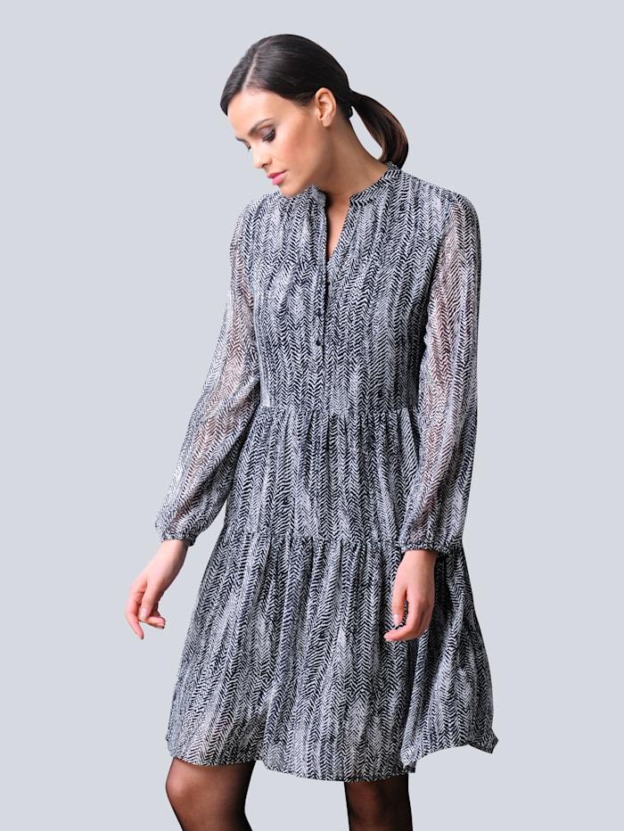 Alba Moda Kleid mit abstraktem Fischgrät-Allover-Print, Schwarz/Off-white