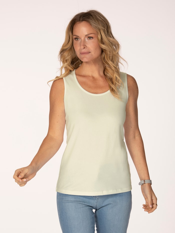 MONA Jersey top made from soft stretch cotton, Ivory