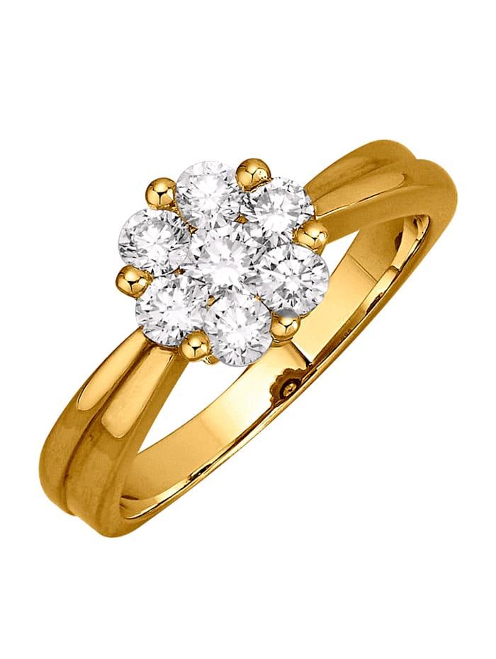 Diemer Diamant Damenring mit lupenreinen Brillanten, Gelbgoldfarben