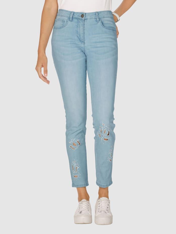 AMY VERMONT Jeans mit Stickerei und Strasssteindekoration im Vorderteil, Blue bleached